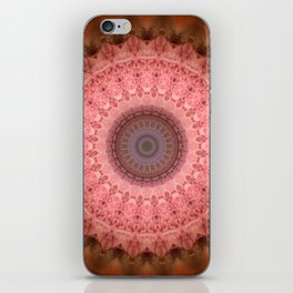 Mandala in brown and pink tones iPhone Skin