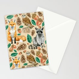 Woodland Creatures Illustrated Watercolor Pattern Stationery Cards
