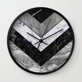 Shimmering mirage - grey marble chevron Wall Clock