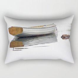 White Boat on a Misty Morning Rectangular Pillow