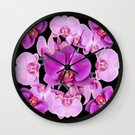 Modern  Ornate Pink & Purple  Moth Orchids Black Colored Art Wall Clock