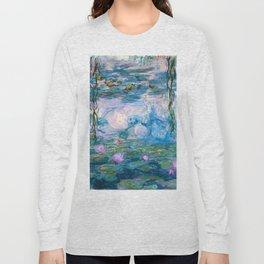Water Lilies Monet Teal Long Sleeve T-shirt