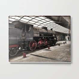 steam locomotive inside the train station Metal Print