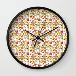 Funky, Fresh Fitness and Sports, Orange, Red, Yellow, White and Retro Vintage Style Music Icons Wall Clock