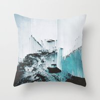 glitch Throw Pillows featuring Glitch by SUBLIMENATION