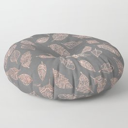 Rose gold hand drawn boho feathers hand drawn grey industrial concrete cement Floor Pillow