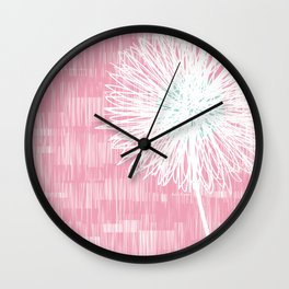 Pink Doodle Floral by Friztin Wall Clock