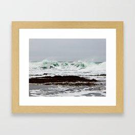 Green Wave Breaking Framed Art Print