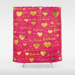 Fashion Word Art witth Gold hearts on Bright Pink, Shower Curtain