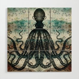 Octopus In Stormy Water Wood Wall Art