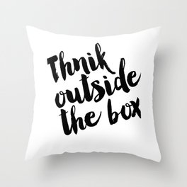 Think Outside The Box, Typography Print, Typography Art, Minimalist Poster, Simple Throw Pillow