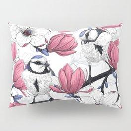 Pink magnolia and blue tit birds   Pillow Sham