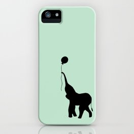 Elephant with Balloon - Mint iPhone Case