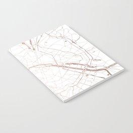 Paris France Minimal Street Map - Rose Gold Glitter Notebook