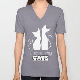 I Love My Cats (Darks) Unisex V-Neck