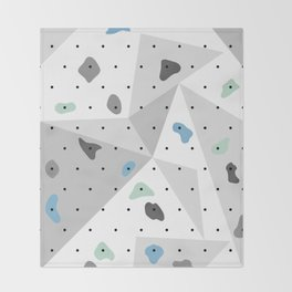Abstract geometric climbing gym boulders blue mint Throw Blanket