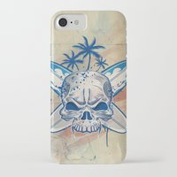 surfboard iPhone & iPod Cases featuring skull on surfboard background by Doomko