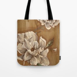 Magnolia on Wood Tote Bag