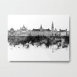 Antwerp skyline in black watercolor Metal Print