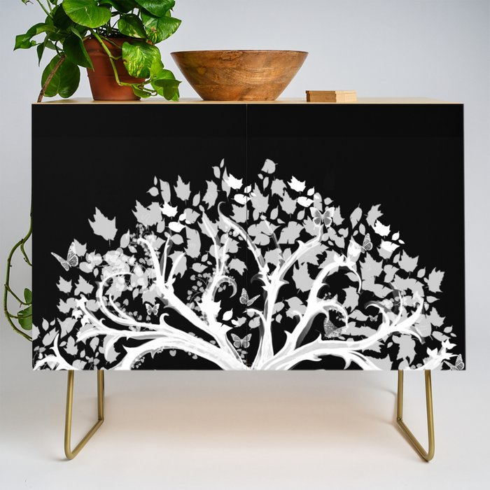 The Zen Tree - White on Black Credenza