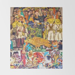 History of Mexico by Diego Rivera Throw Blanket