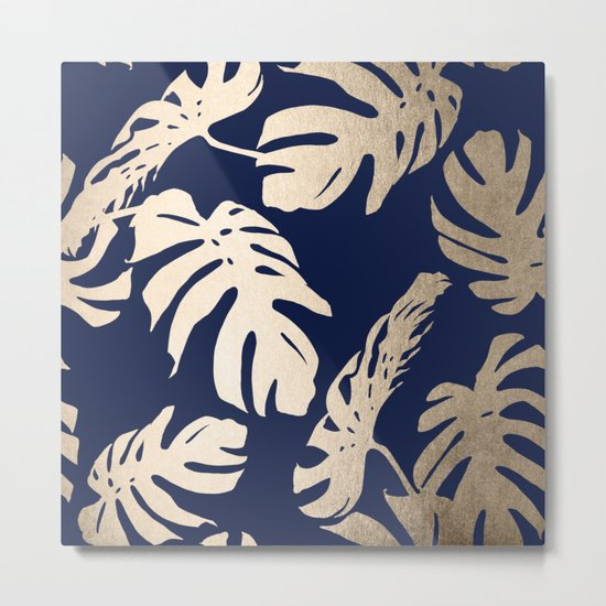 Simply Palm Leaves in White Gold Sands on Nautical Navy Metal Print