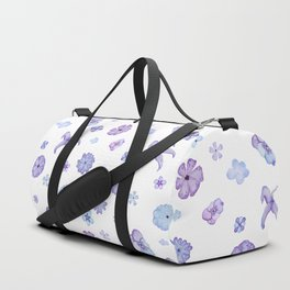Purple Watercolor Floral Print Duffle Bag
