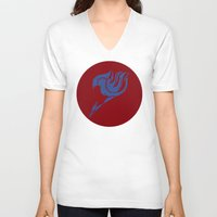 fairy tail V-neck T-shirts featuring Fairy Tail Segmented Logo (Erza) circle by JoshBeck