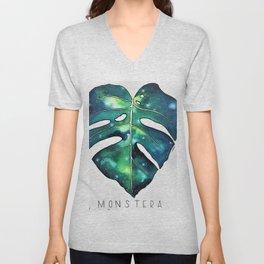 Monstera Leaf galaxy watercolor illustration Unisex V-Neck