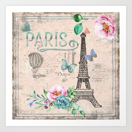 Paris - my love - France Nostalgy - pink French Vintage Kunstdrucke