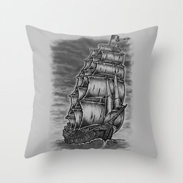 Caleuche Ghost Pirate Ship Throw Pillow