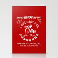 sriracha Stationery Cards featuring Foghorn Leghorn Sauce (White) by Huemanitee