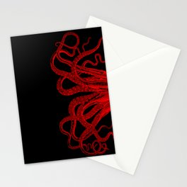 Red Vintage Octopus  Tentacles Illustration Stationery Cards