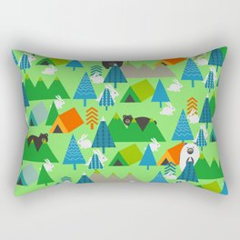 Forest with cute little bunnies and bears Rectangular Pillow