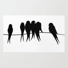 Birds on wire in black & white Rug