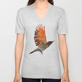 Flying bird Flicker Geometric Nature Unisex V-Neck