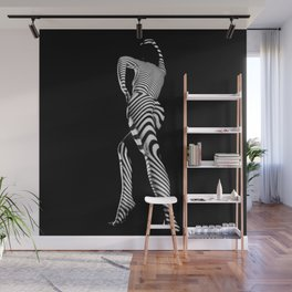 0492s-MM BW Striped Nude Art Model Megan Rear View Standing Wall Mural