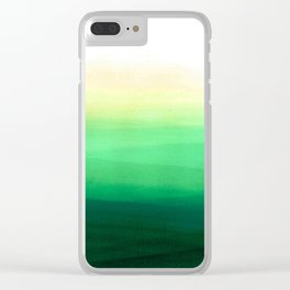 Dip dye background in shades of green Clear iPhone Case