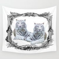 tigers Wall Tapestries featuring White Tigers by haroulita