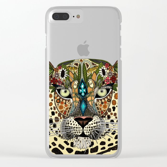 leopard queen blue Clear iPhone Case