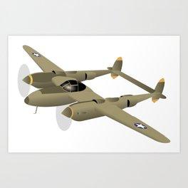 WW2 P-38 Lightning Airplane Art Print