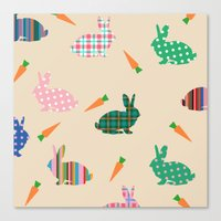 rabbits Canvas Prints featuring rabbits by vitamin