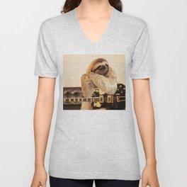 Rock Star Sloth 2# Unisex V-Neck