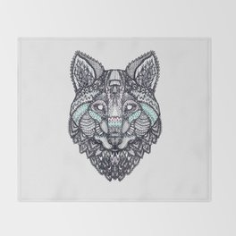 Psychedelic Wolf Throw Blanket