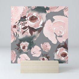 Pink Roses Grey Floral Mini Art Print