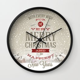 Merry Christmas and Happy New Year Wall Clock