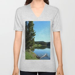 Peaceful Morning At Yellowstone River Unisex V-Neck