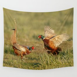 Pheasants fighting. Wall Tapestry
