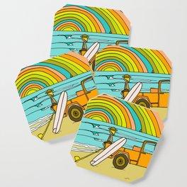 Retro Surf Days Single Fin Pick Up Truck Coaster