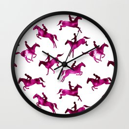 Watercolor Showjumping Horses (Magenta) Wall Clock